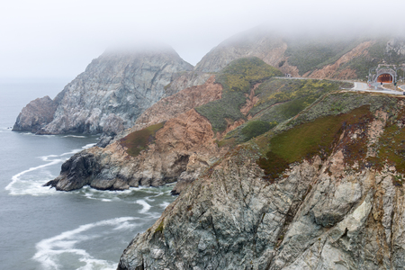 Devils Slide In Fog. Pacifica and Montara, San Mateo County, California, USA.