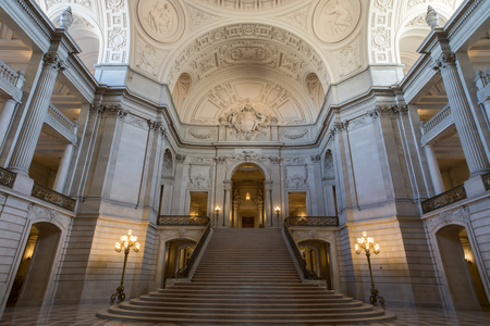 rotunda: San Francisco, California, USA - June 1, 2017: San Francisco City Hall. The Rotunda Facing the Grand Staircase and the Tennessee Pink Marble