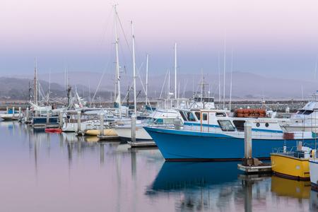Pillar Point Harbor Dusk. Half Moon Bay, San Mateo County, California, USA. Stock Photo
