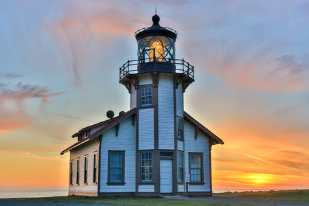 Sunset over Point Cabrillo Light Station State Historic Park, Mendocino County, California, USA.