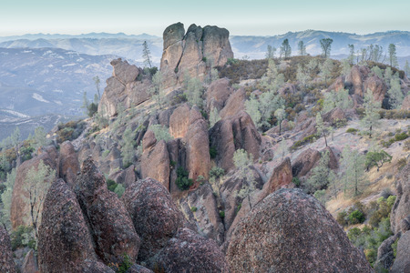 High Peaks Blue Hour. Pinnacles National Park, California, USA.