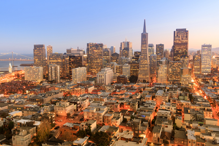 Dusk over San Francisco Downtown from top of Coit Tower in Telegraph Hill. San Francisco Financial District, California, USA.