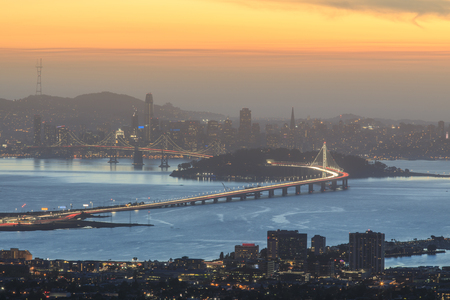 Dusk over San Francisco. Grizzly Peak, Berkeley Hills, Alameda and Contra Costa Counties, California, USA.