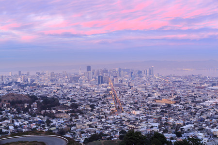 Pink and Blue Twilight at Twin Peaks. San Francisco, California, USA.