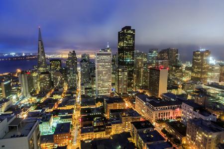 San Francisco City Lights. San Francisco Downtown High Angle View from Nob Hill Neighborhood.