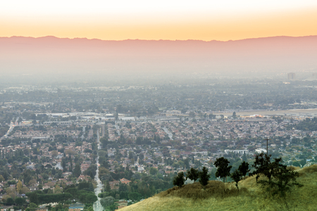 Air Polluted Silicon Valley Sunset. Mt Hamilton, San Jose, California, USA. Stock Photo