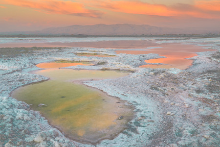 Bay Area Salt Ponds Sunset. Alviso Marina County Park, Santa Clara County, California, USA.