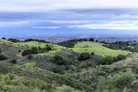 San Francisco South Bay Area Views in Winter. Fremont Older Open Space Preserve, Cupertino, Santa Clara County, California, USA. Stock Photo