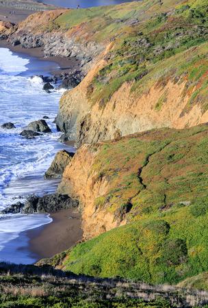 Northern California Rugged Coastline near Rodeo Beach. Battery Mendell, Marin County, California, USA.