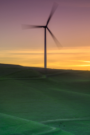 Lone wind turbine spinning on a grassy hillside sunset. Altamont Pass Wind Farm, Alameda County, California, USA.