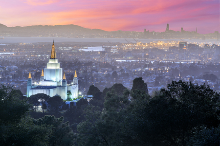 Oakland Temple and City from Oakland Hills. Oakland, Alameda County, California, USA. Stock Photo