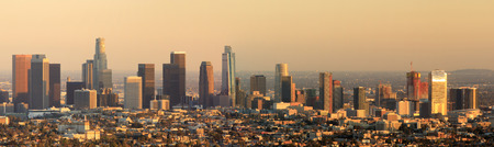 Los Angeles skyline during sunset as seen from behind the Griffith Observatory in Griffith Park in February 2018. Imagens