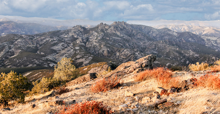 High Peaks volcanic rocks (Pinnacles) from North Chalone Peak. Pinnacles National Park, Central California, USA.