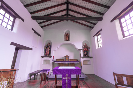Santa Cruz, California - March 24, 2018: Details of the mission chapel altar of Mission Santa Cruz. Mission Santa Cruz was a Spanish mission founded by the Franciscan order in 1791 as the 12th california mission.