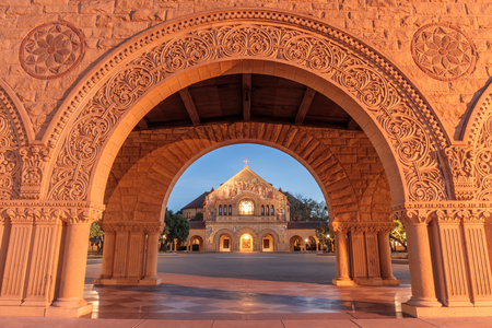 Stanford, California - March 28, 2018: North facade of Stanford Memorial Church from the Memorial Court of the Main Quad