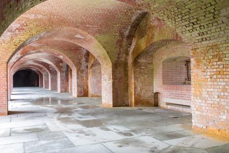San Francisco, California - April 7, 2018: Empty corridors beneath Fort Point National Historic Site. Editoriali