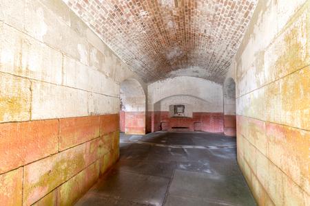 San Francisco, California - April 7, 2018: Empty corridors beneath Fort Point National Historic Site. Editorial