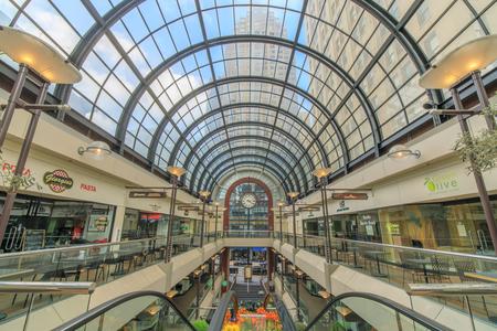 San Francisco, California - April 7, 2018: Interior of the Crocker Galleria Shopping Mall in the Financial District.