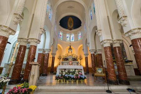 San Francisco, California - April 7, 2018: The altar of Notre Dame des Victories Church. Editorial
