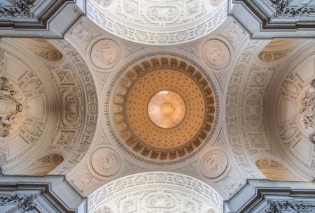 San Francisco, California, USA - April 14, 2018: Interiors of San Francisco City Hall. The Dome in the Main Rotunda.