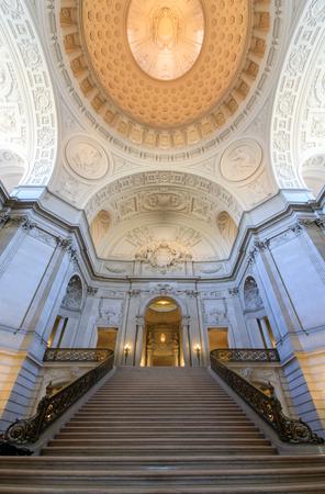 San Francisco, California, USA - April 14, 2018: San Francisco City Hall. The Rotunda Facing the Grand Staircase and Dome.