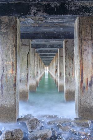Under Fort Baker Pier. Fort Baker, Sausalito, Marin County, California, USA. Stock Photo