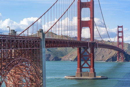 View of the Golden Gate Bridge from above Fort Point looking towards Marin Headlands. San Francisco, California, USA. Stock Photo
