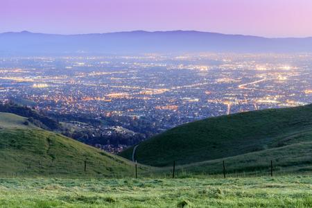 Silicon Valley Twilight. Sierra Vista Open Space Preserve, San Jose, Santa Clara County, California, USA.