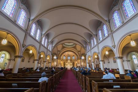 San Francisco, California - April 28, 2018: Interior of Star of the Sea Catholic Church. Inner Richmond, San Francisco, California, USA.