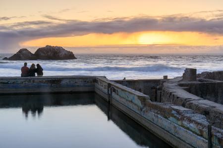 Sunset over Sutro Baths Ruins. San Francisco, California, USA.