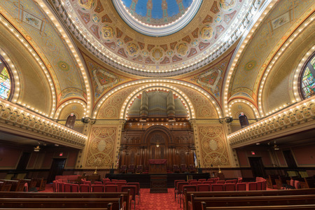 San Francisco, California - April 28, 2018: Interior of Congregation Sherith Israel. Congregation Sherith Israel (loyal remnant of Israel) is one of the oldest synagogues in the United States. It was established during California's Gold Rush period an