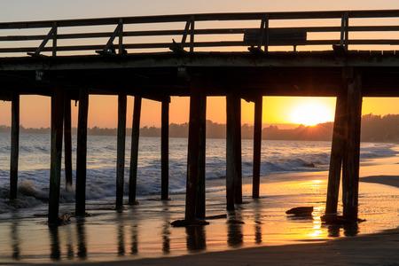 Sunset over Seacliff State Beach. Aptos, Monterey Bay, California, USA. Stock Photo