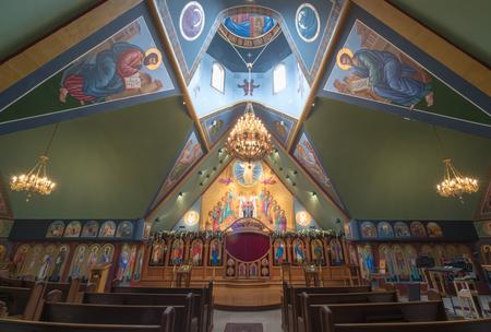 Ben Lomond, California - May 24, 2018: Interior of Saints Peter and Paul Antiochian Orthodox Church. Parish of the Antiochian Orthodox Christian Archdiocese of North America in Ben Lomond, California.