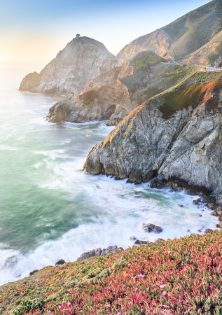 Sunset over the Sheer Cliffs of Devils Slide. Pacifica and Montara, San Mateo County, California, USA. Stock Photo