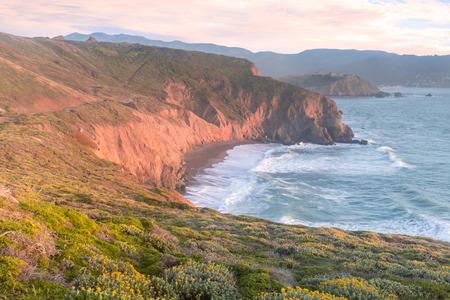 Mori Point Spring Sunset. San Mateo County, California, USA. Stock Photo