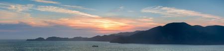 The Marin Headlands Panoramic Sunset as seen from San Francisco. Sausalito, Marin County, California, USA.