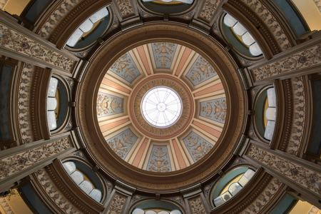 San Francisco, California - June 5, 2018: Interior of San Francisco Columbarium Dome. Located off the beaten path, at the end of a residential cul-de-sac in the Richmond District, the copper-domed, Neo-Classical columbarium is a hidden gem and an architec Editorial