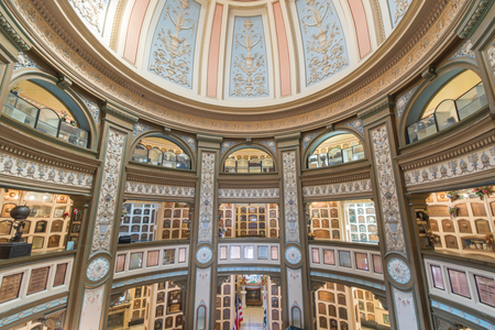San Francisco, California - June 5, 2018: Interior of San Francisco Columbarium. Located off the beaten path, at the end of a residential cul-de-sac in the Richmond District, the copper-domed, Neo-Classical columbarium is a hidden gem and an architectural Editorial