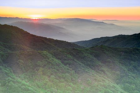 Sunset Views from Mt Umunhum Summit. Sierra Azul Open Space Preserve, Santa Clara County, California, USA. Stock Photo