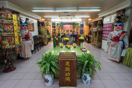 San Francisco California - August 17, 2018: Ma Tsu Taoist Temple in Chinatown. Founded in 1986, it is dedicated to Mazu and has foundational ties to the Chaotian Temple in Beigang, Yunlin, Taiwan.