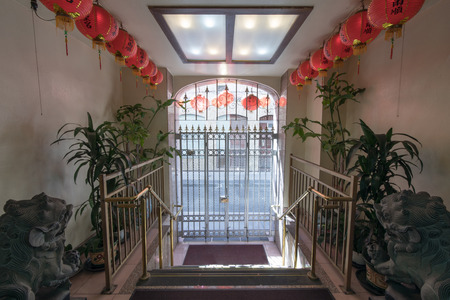 San Francisco California - August 17, 2018: Ma Tsu Taoist Temple Entrance facing Beckett Street in Chinatown. Founded in 1986, it is dedicated to Mazu and has foundational ties to the Chaotian Temple