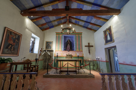 Soledad, California - August 26, 2018: The Altar of Mission Soledad Chapel. Founded in 1791 by Father Fermin Lasuen, Mission Soledad is the thirteenth mission to be founded in California.
