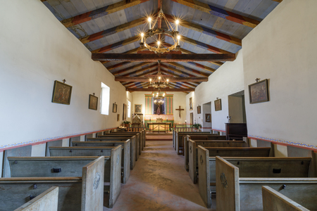 Soledad, California - August 26, 2018: Interiors of Mission Soledad Chapel. Founded in 1791 by Father Fermin Lasuen, Mission Soledad is the thirteenth mission to be founded in California. Editorial