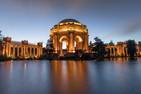 The Palace in the evening with reflection from pond. Palace of Fine Arts, San Francisco, California, USA.