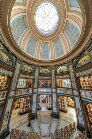 San Francisco, California - September 16, 2018: Interior of San Francisco Columbarium. Located off the beaten path, at the end of a residential cul-de-sac in the Richmond District, the copper-domed, Neo-Classical columbarium is a hidden gem and an archite