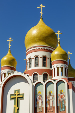 Exterior of the Holy Virgin Cathedral. View of the newly restored onion domes of the Russian Orthodox cathedral in the Richmond District of San Francisco. Stock Photo
