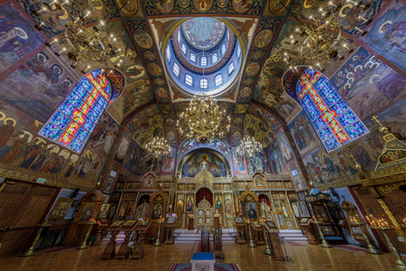 San Francisco, California - September 16, 2018: Interior of the Holy Virgin Cathedral. The Holy Virgin Cathedral, also known as Joy of All Who Sorrow, is a Russian Orthodox cathedral in the Richmond District of San Francisco.