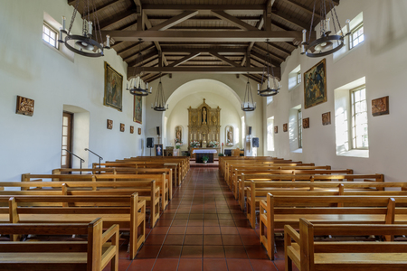 San Rafael, California - September 24, 2018: Interiors of Mission San Rafael Arcangel. Built in sunny San Rafael as California's first hospital, this mission served ailing Native Americans stationed at damp and foggy Mission San Francisco. Editorial