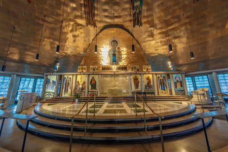 Oakland, California - September 30, 2018: Altar of the Ascension Greek Orthodox Cathedral of Oakland. Inside the Greek Orthodox Cathedral of the Ascension. Oakland, Alameda County, California, USA.