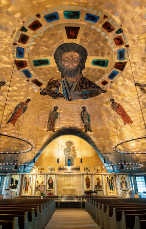 Oakland, California - September 30, 2018: Interior of Ascension Greek Orthodox Cathedral of Oakland. Inside the Greek Orthodox Cathedral of the Ascension. Oakland, Alameda County, California, USA. Editorial